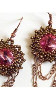 Rivolis fülbevaló ékszerlánccal, rózsa-bronz
