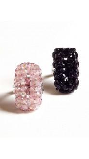 Csiszolt tégla gyűrűk, 2 db-os szett, fekete és rózsa