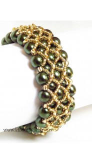 Fenestra karkötő, zöld-arany