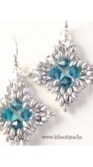 Super diamond fülbevaló, ezüst-blue zirkon