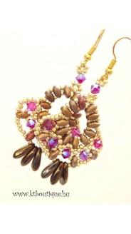 Orient fülbevaló, arany-bronz-fukszia