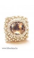 Négyzetes gyűrű, ezüst