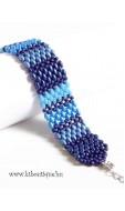 Fonott kosár karkötő, kék mix