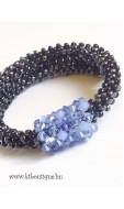 Vario karkötő kristálydísszel, hematit-kék mix