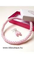 Hálós nyaklánc szett, rózsaszín-fehér