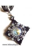 Masja nyaklánc, fekete-ezüst-black diamond ab2x
