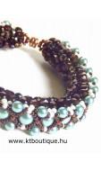 Dancing Pearls karkötő, bronz-türkizzöld-krém